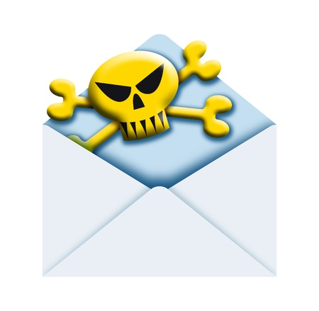 illustration of a poste envelope with skull and crossbones  sign inside