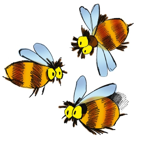 cartoon illustration of three bees on white background Imagens