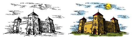 citadel: graphic illustration of a castle on white and color backgrounds Stock Photo