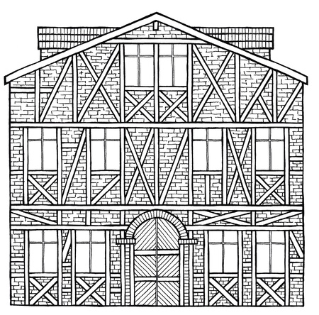 black cartoon illustration of a house at white background illustration