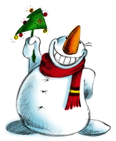 cartoon illustration of a smiling snowman with red scarf illustration