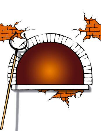 Ilustración de dibujos animados de una estufa con fondo blanco