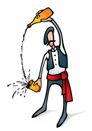 Vector illustration of a cider drinker in a basks traditional clothes. Can be easily colored and used in your design.
