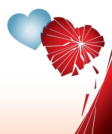 Vector illustration with a broken heart. Can be easily colored and used in your design. Vector