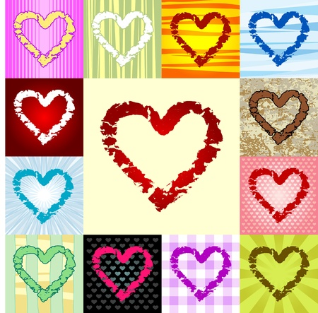 A set of rough heart icons. Can be easily colored and used in your design. Ilustração