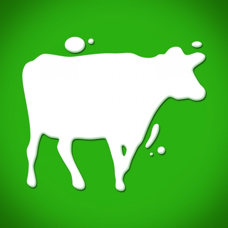 An illustration of a cow making with a milk drops  Imagens