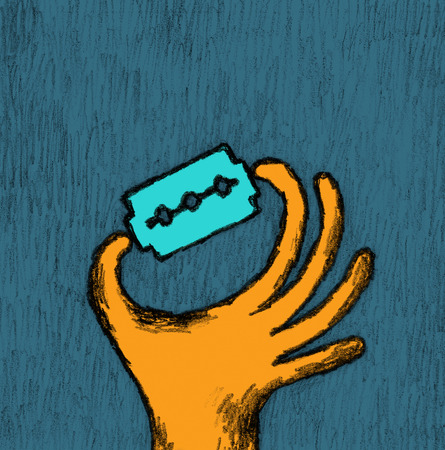 Handmade illustration of a hand with a razor blade
