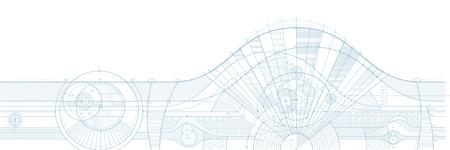 Vector illustratie van technische ontwerp achtergrond. Kan gemakkelijk gekleurd worden en gebruikt in uw ontwerp. Stock Illustratie