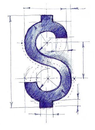 Handmade drawing of a dollar sign like a draft.