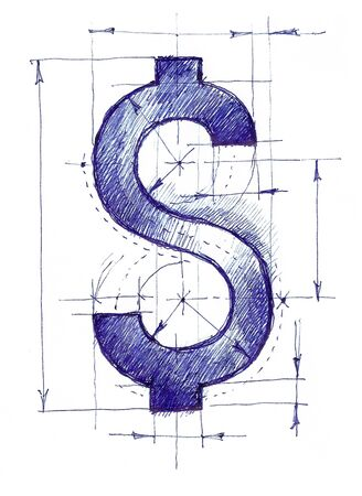 Handmade drawing of a dollar sign like a draft.