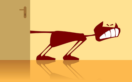 Vector illustration of a cat with a sandwiched tail. 일러스트