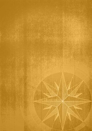 Grunge background with a wind rose in a draft style. Sepia pattern.