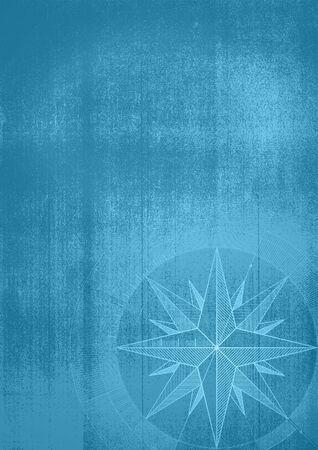 bussola: Grunge background con un vento è aumentato in un progetto di stile. modello blu.