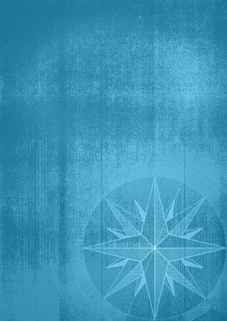 Grunge background with a wind rose in a draft style. Blue pattern.