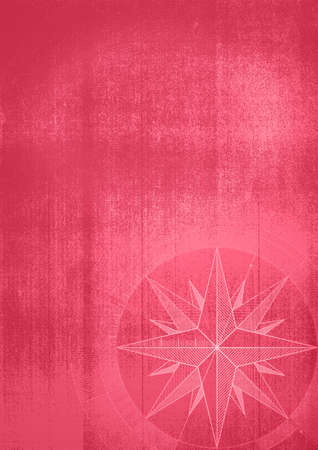 Grunge background with a wind rose in a draft style. Red pattern.