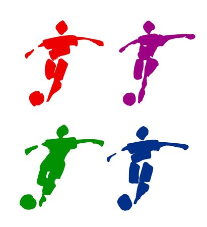Traced illustration of football players. Can be easily colored and used in your design.