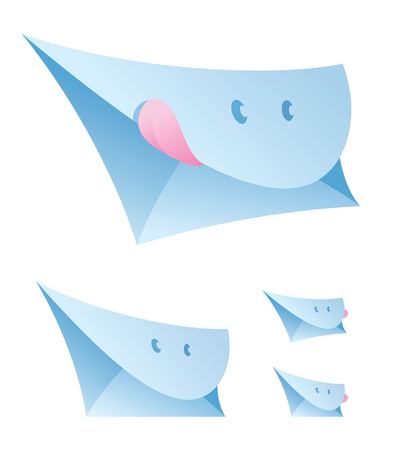 Vector illustration of a set of smiling envelopes. Can be easily colored and used in your design.