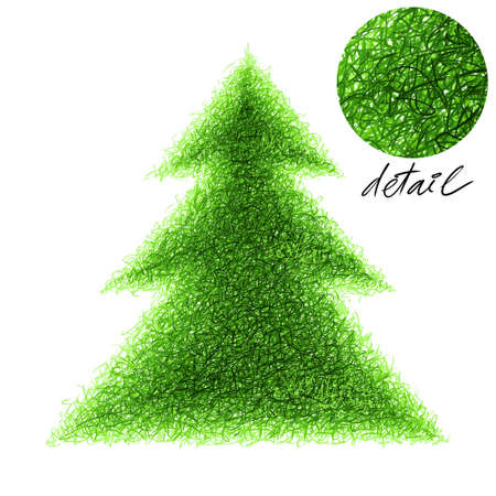 stroked: Stroked fir-tree illustration on a white background. Stock Photo