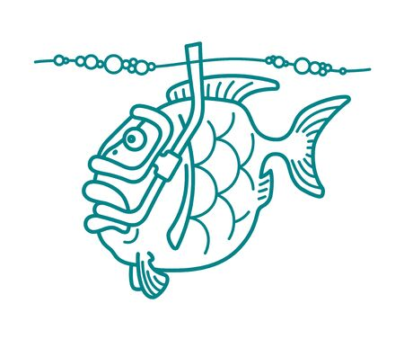 Vector illustration of a snorkel diving fish. Can be easily colored and used in your design.