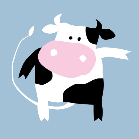 Cartoon illustration of a pretty cow. Can be easily colored and used in your design. Ilustração