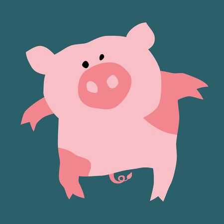 Cartoon illustration of a pretty pig. Can be easily colored and used in your design.