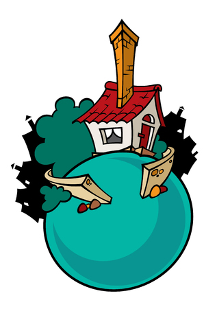 Cartoon illustration of a pretty cartoon house. Can be easily colored and used in your design.