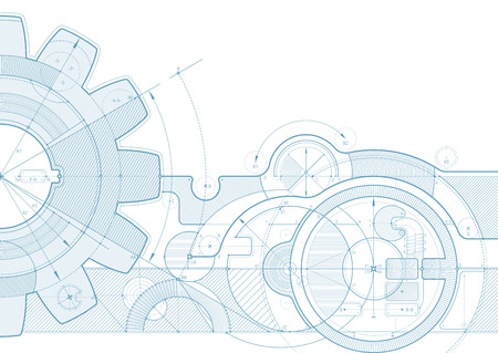 Vector draft background with a gear element. Can be easily colored and used in your design.  イラスト・ベクター素材