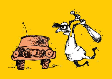 Handmade cartoon illustration of a bully and car. Stock fotó