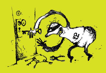 Handmade cartoon illustration of a burglar.