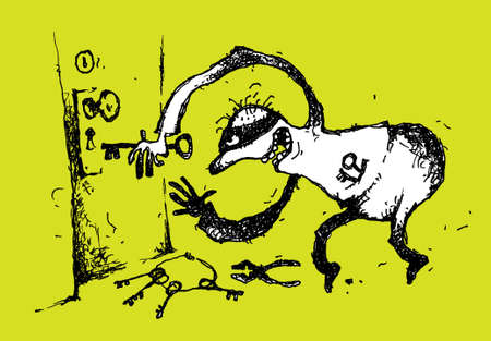housebreaker: Handmade cartoon illustration of a burglar.