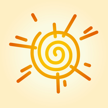 Vector illustration of a stylized sun. Can be easily colored and used in your design. Ilustração