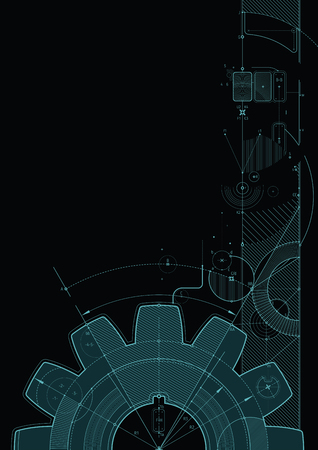 Vector draft background with a gear element. Can be easily colored and used in your design. 일러스트