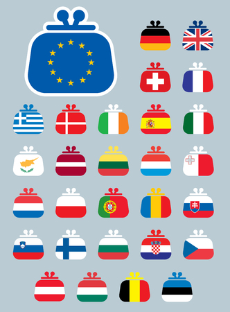 A set of vector icons of Euro flags as a purse.