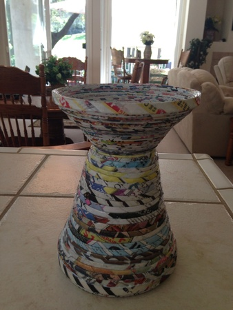 Flower vase made from newspaper