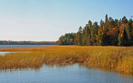 cloud drift: lake in autumn Stock Photo