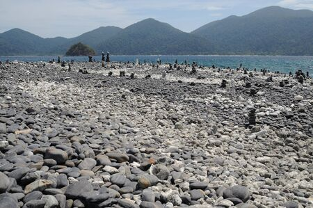 Stone beach on the island in Thailand photo