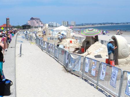 Boston, MAUSA-July 19 2013-Revere Beach National Sand Sculpting Festival Editorial