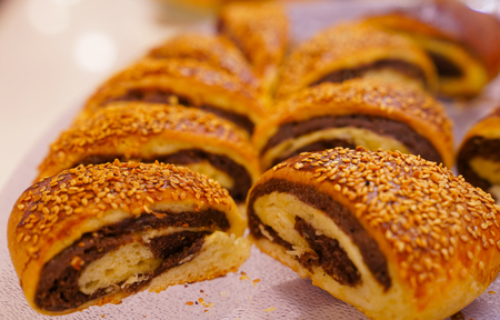 Turkish ay coregi (croissant) with chocolate cocoa Stock Photo