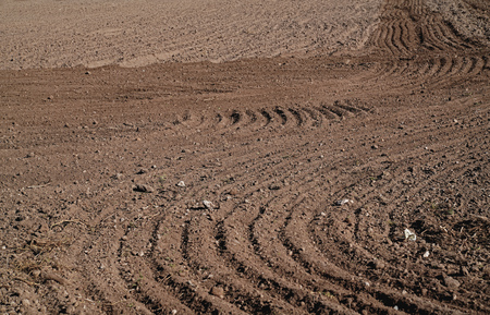 Plowed agriculture field, brown soil