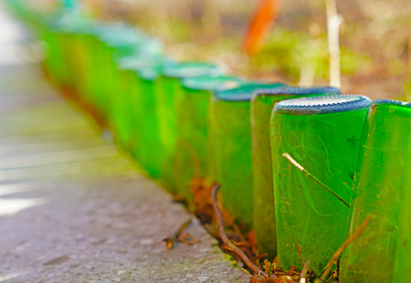 The border of the garden is made of non-returnable green glass bottles