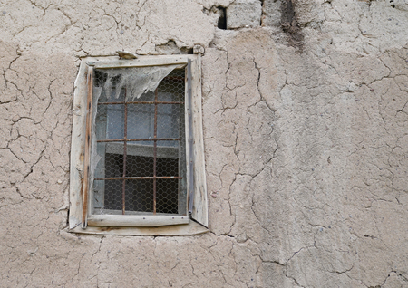 Old cracked wall with window Stok Fotoğraf