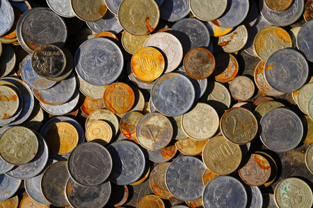 Pile of rusty coins background