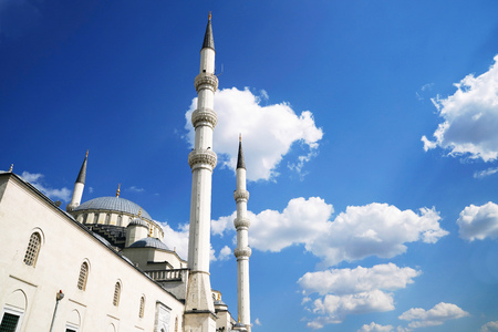 Kocatepe Mosque in blue sky background in Ankara Turkey