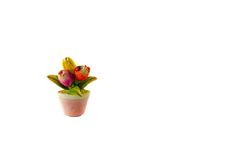 Tulips flower in vase as magnetic souvenir on white background