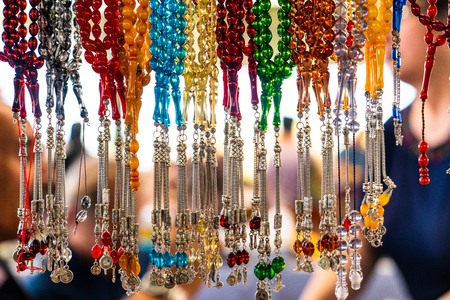 View of tesbih and beads hanging in a street shop, Istanbul, Turkey Stok Fotoğraf