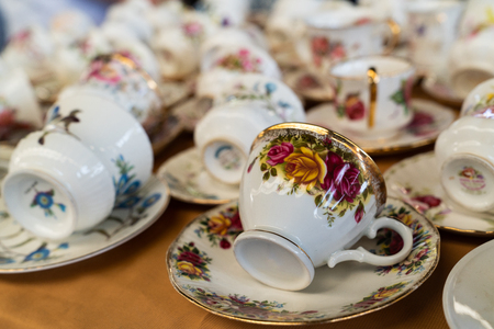 Various coffee cups in a flea market in Turkey Stok Fotoğraf