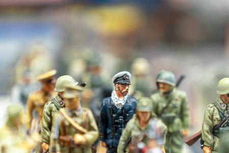 Ankara, Turkey-September 2 2018: Selective focus vies of tin soldiers in a flea market