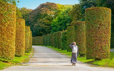 Back, rear view of Buddhist monk walks in garden street at Ossegempark in Belgium Stock Photo