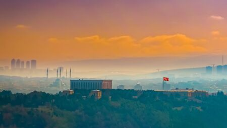 Panoramic Ankara view with Emek and Anittepe districts and Anitkabir and Kocatepe mosque in background.