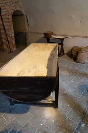 Old big dough tray for kneading Banque d'images